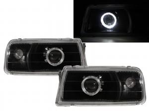 CrazyTheGod Sidekick ET/TA First generation 1988-1998 Convertible/SUV 2D/3D/5D Guide LED Angel-Eye Projector Headlight Headlamp Black V1 for SUZUKI LHD