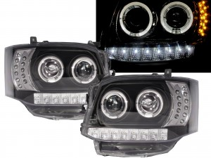 CrazyTheGod HIACE H200 2010-2014 Angel-Eye Projector Headlight LED DRL R8Look BLACK for TOYOTA RHD