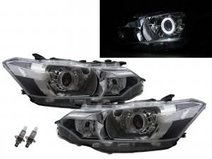 CrazyTheGod VIOS XP150 Third generation 2013-2015 Sedan 4D Guide LED Angel-Eye Projector Headlight Headlamp W/ Motor Chrome V1 for TOYOTA RHD