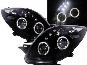 CrazyTheGod Yaris XP90 Second generation 2005-2008 Pre-Facelift Hatchback 3D/5D Angel-Eye Projector Headlight Headlamp Black for TOYOTA LHD
