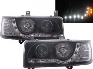 CrazyTheGod Transporter T4 1990-2003 PRE-FACELIFT VAN/Pickup 2D/3D/4D/5D/6D Projector LED R8Look Headlight Headlamp Black V1 for VW Volkswagen RHD