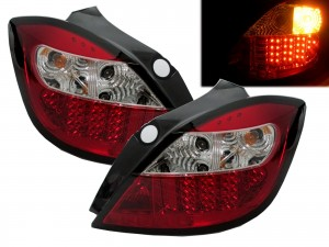 CrazyTheGod Astra 2004-2009 Hatchback 5D LED Tail Rear Light Red/Clear for CHEVROLET CHEVY