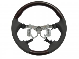 CrazyTheGod CAMRY XV40 2006-2011 STEERING WHEEL OE BROWN WOOD GRAY Leather for TOYOTA