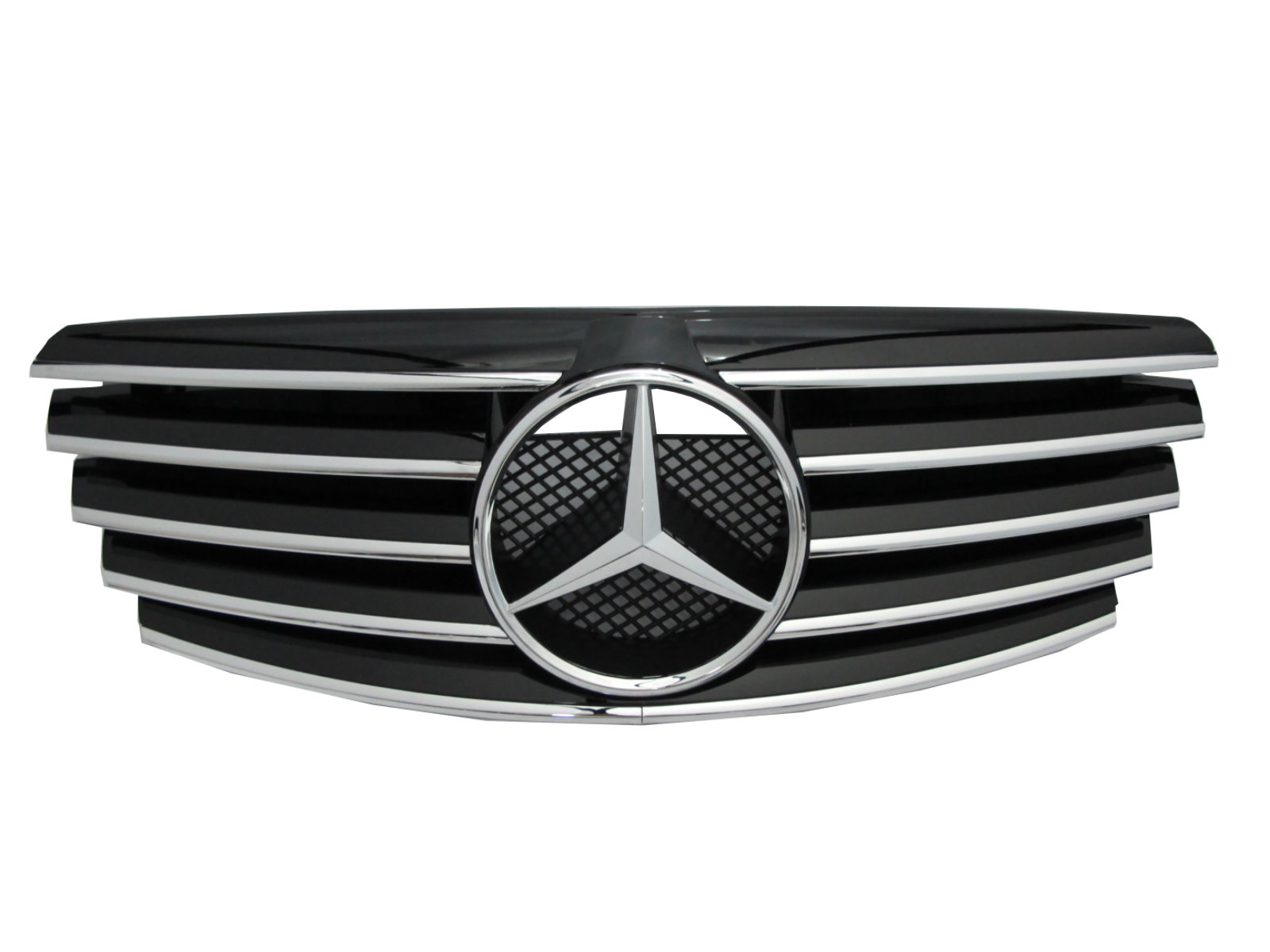 W210 2000 2002 faceliftd grille grill 5fin chrome black for Mercedes benz grille